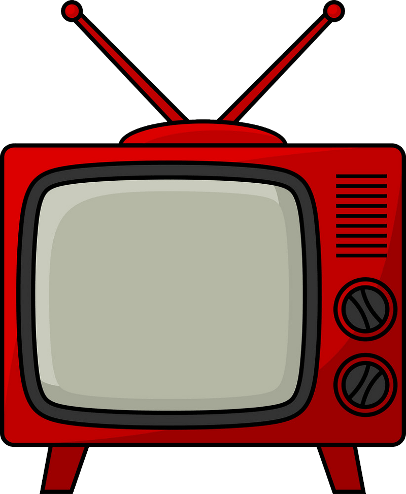 Retro TV clipart transparent 1
