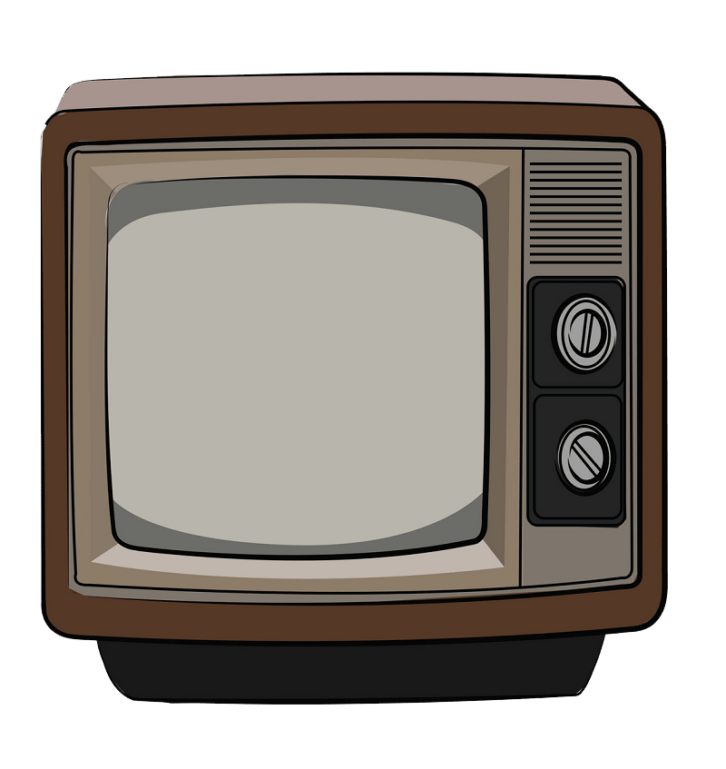 Retro TV clipart transparent