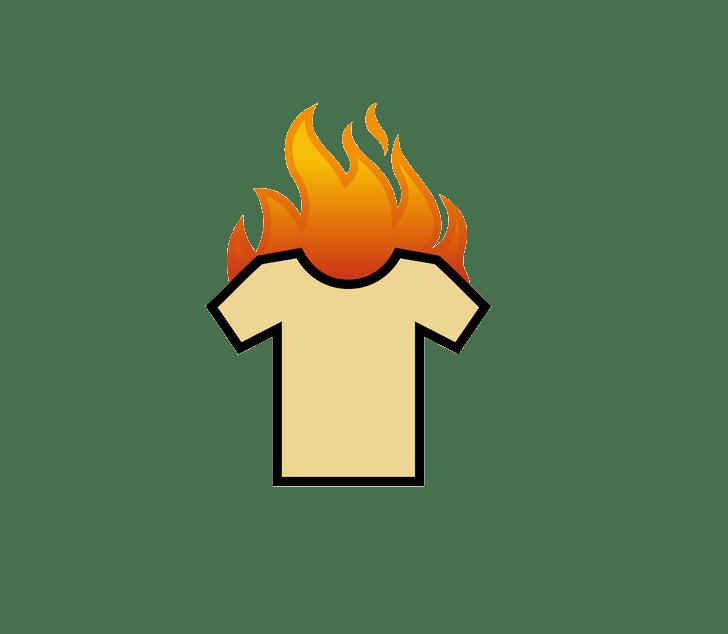 T shirt on fire clipart transparent
