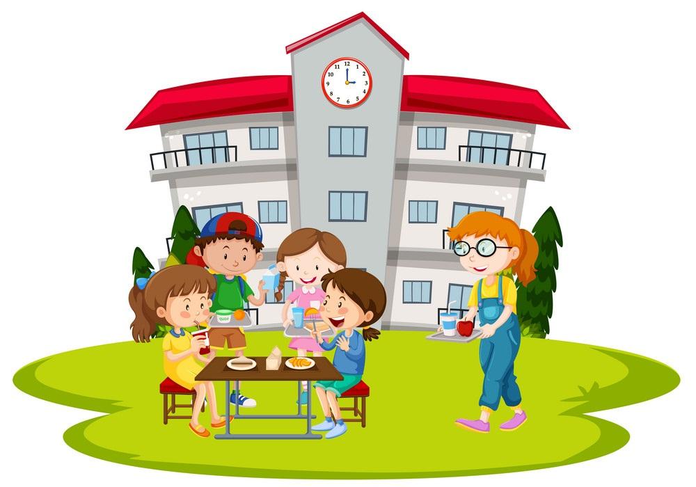 children having lunch at school