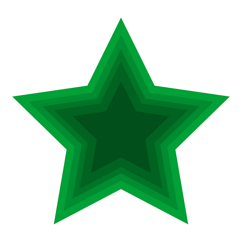 christmas green star clipart