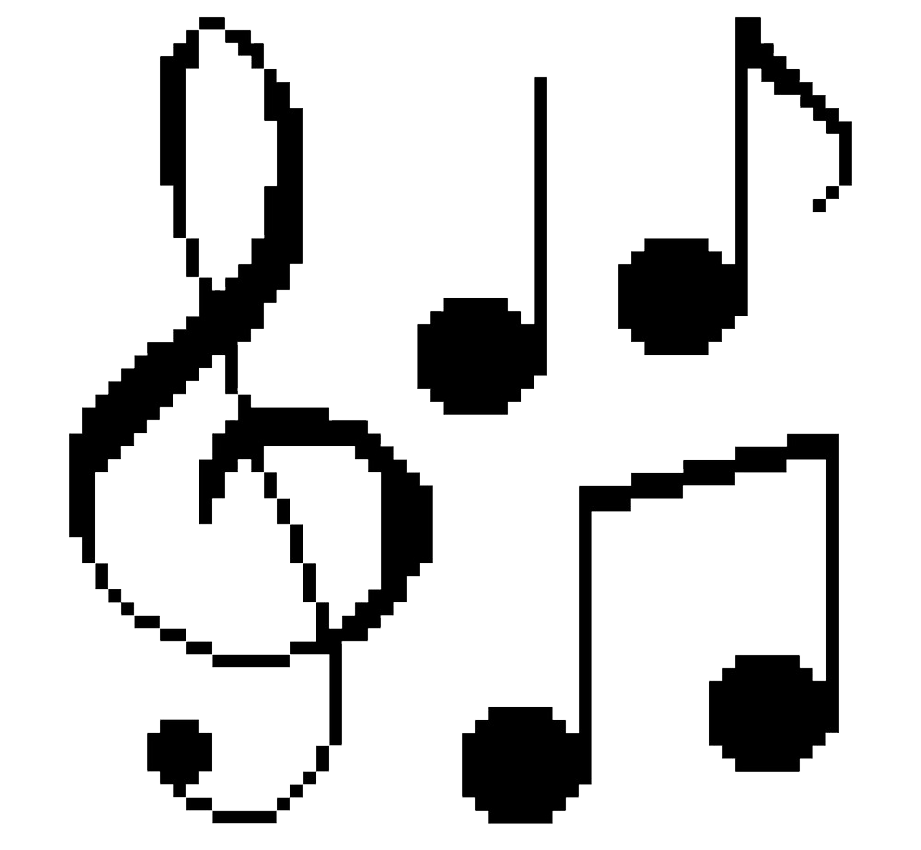 pixel music notes clipart transparent