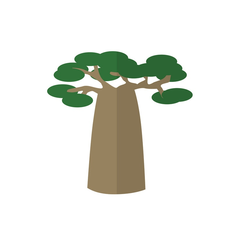 single baobab tree clipart