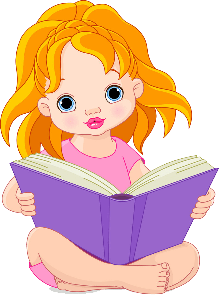 A Girl Reading clipart transparent