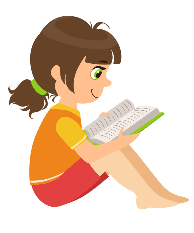 A Girl Reading clipart