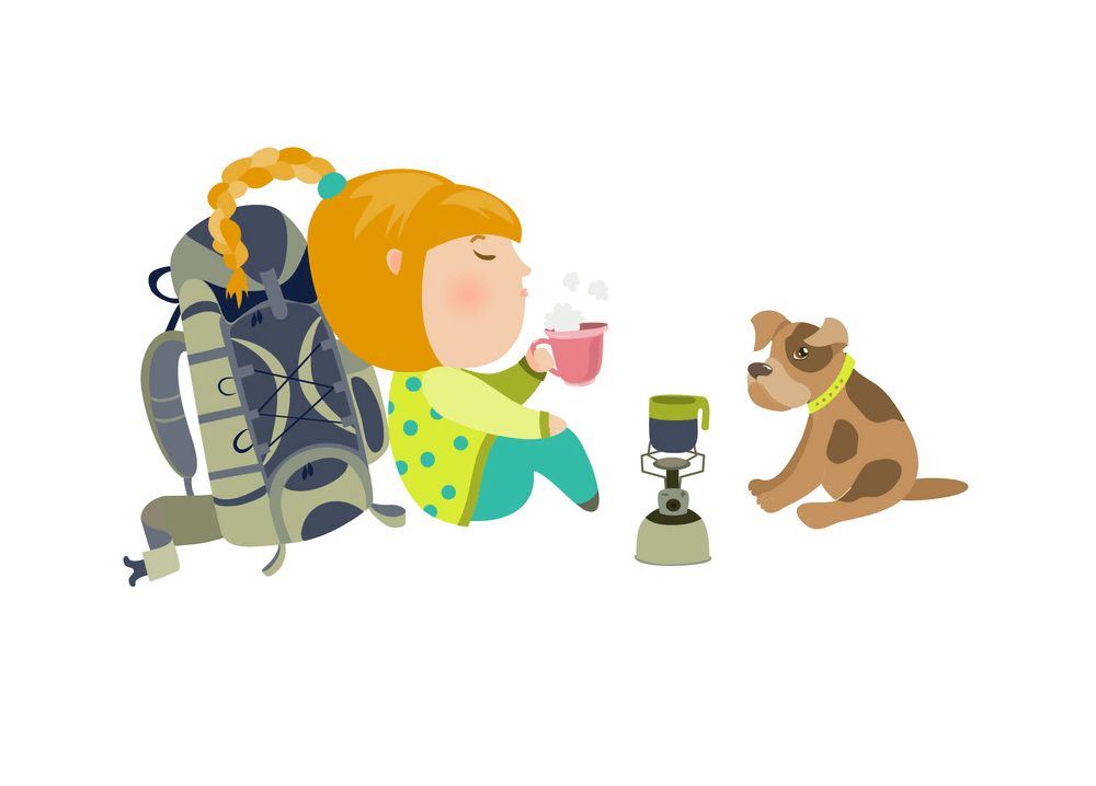 A Girl and Dog Camping png