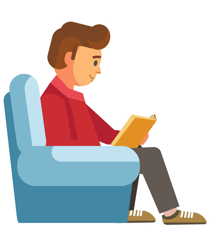 A Guy Reading clipart