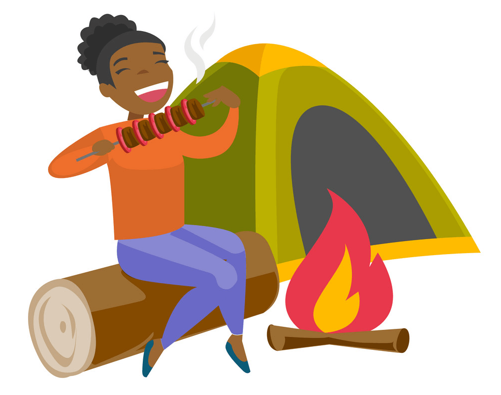 A Woman Camping clipart