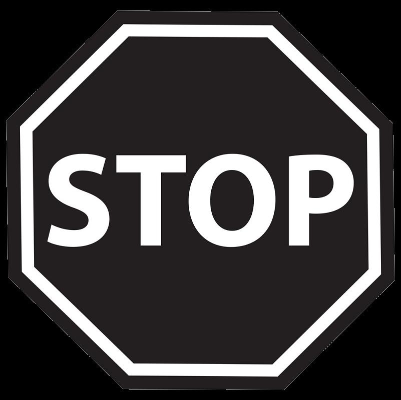 Black Stop Sign clipart transparent