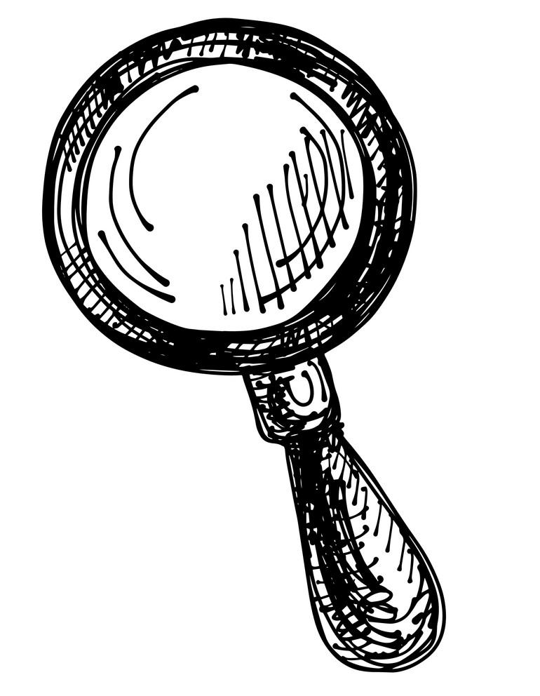 Black and White Magnifying Glass clipart