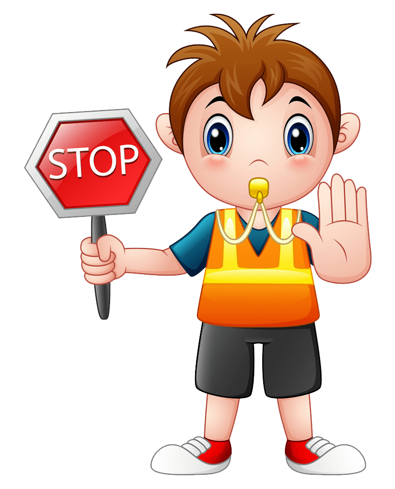 Boy Holding Stop Sign clipart transparent