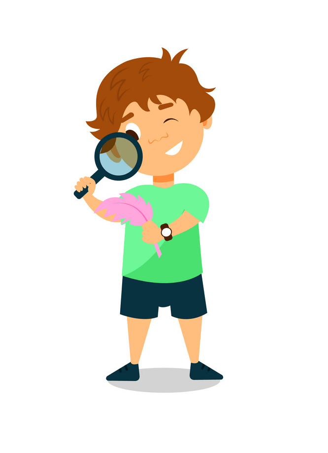 Boy Using Magnifying Glass png