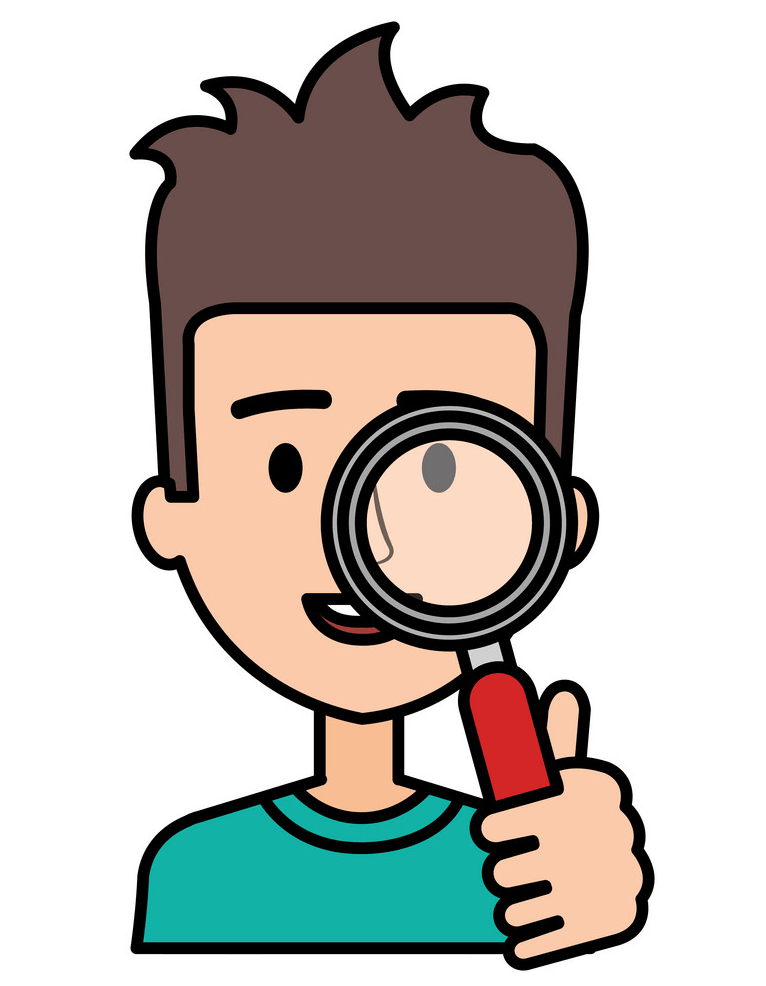 Boy with Magnifying Glass clipart