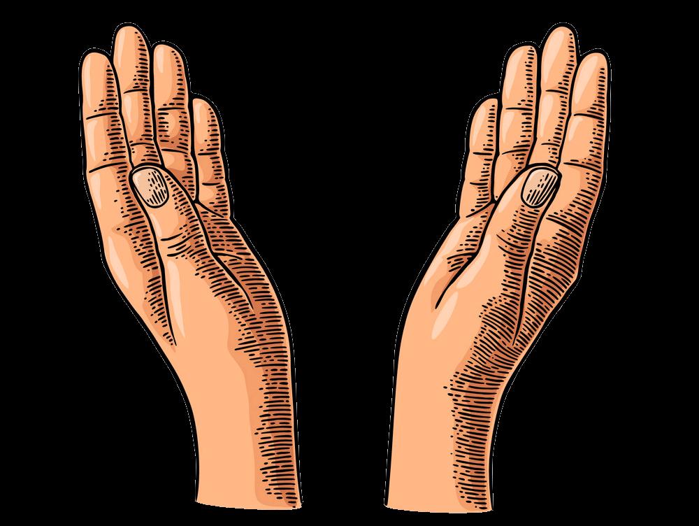 Engraving Praying Hands clipart transparent