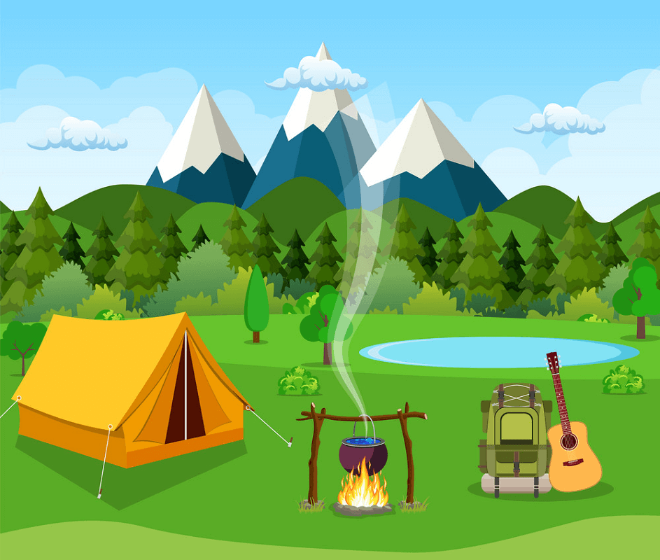 Flat Camping clipart