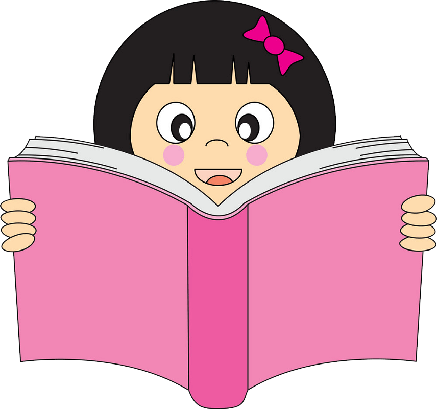 Girl Reading clipart transparent