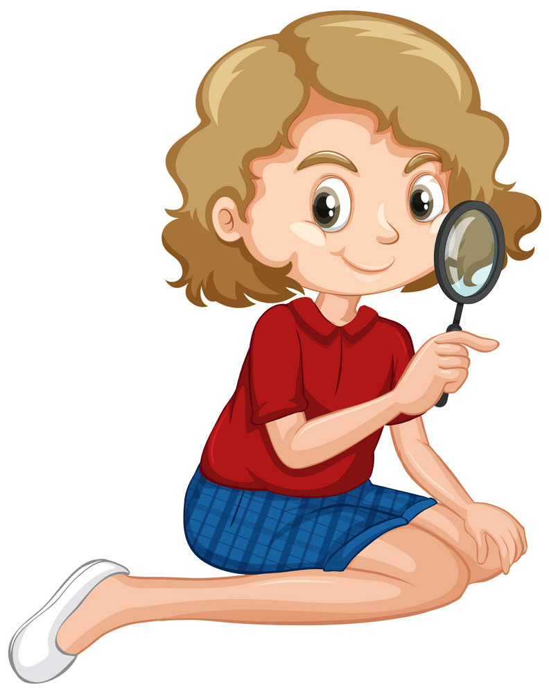 Girl with Magnifying Glass clipart