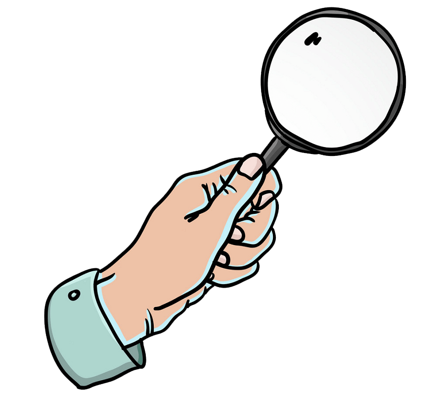 Hand Holding Magnifying Glass clipart transparent