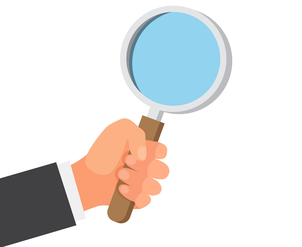 Hand with Magnifying Glass clipart