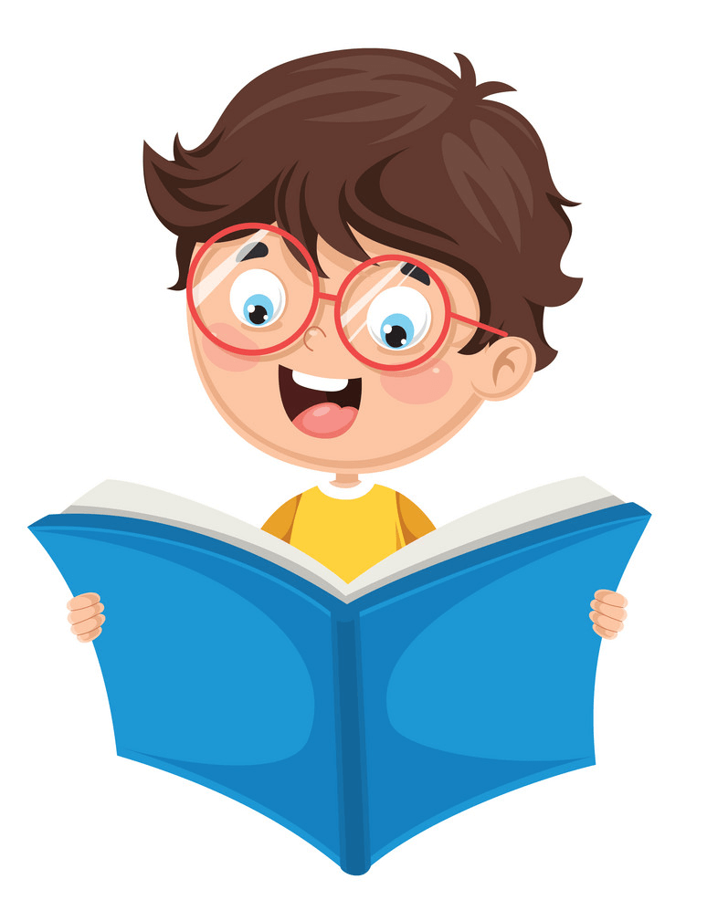Happy Boy Reading clipart