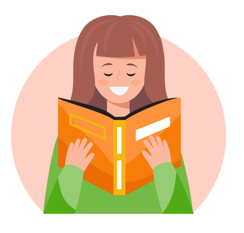 Happy Girl Reading clipart transparent