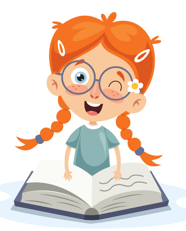 Happy Girl Reading clipart