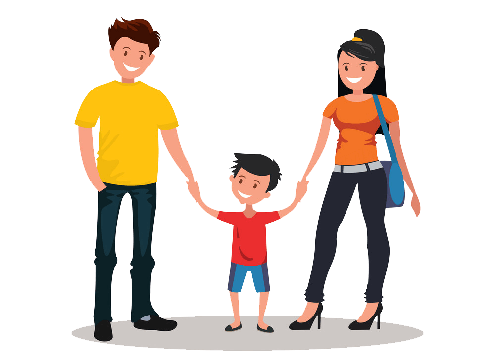 Happy Young Family clipart transparent