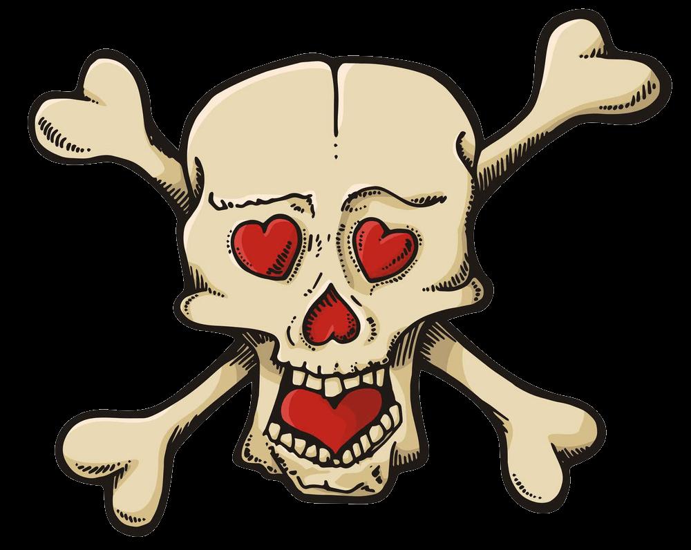 Hearts Skull clipart transparent