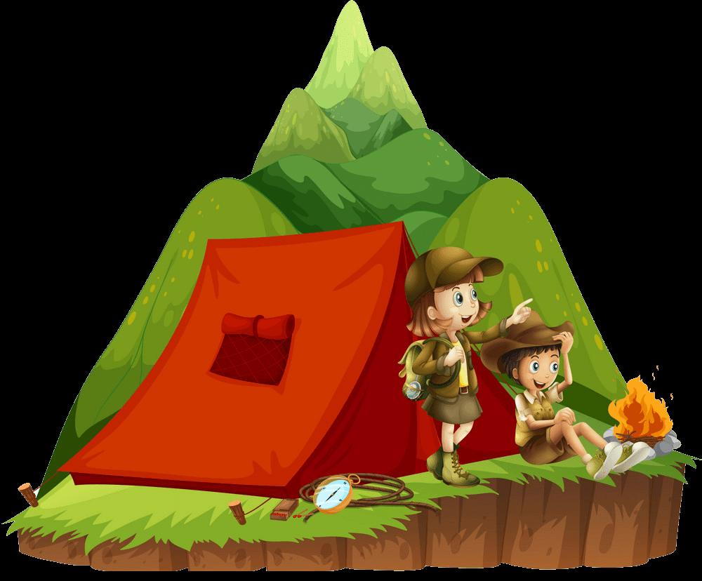 Kids Camping clipart transparent