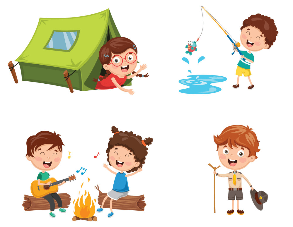Kids Camping clipart