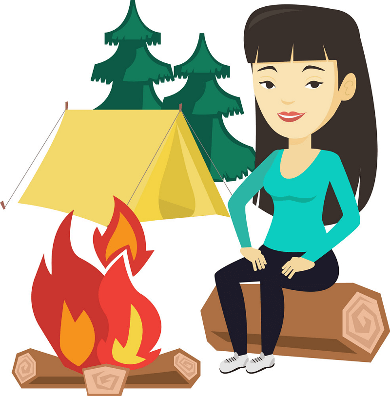 Lady Camping clipart