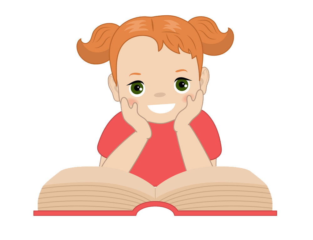 Little Girl Reading clipart transparent