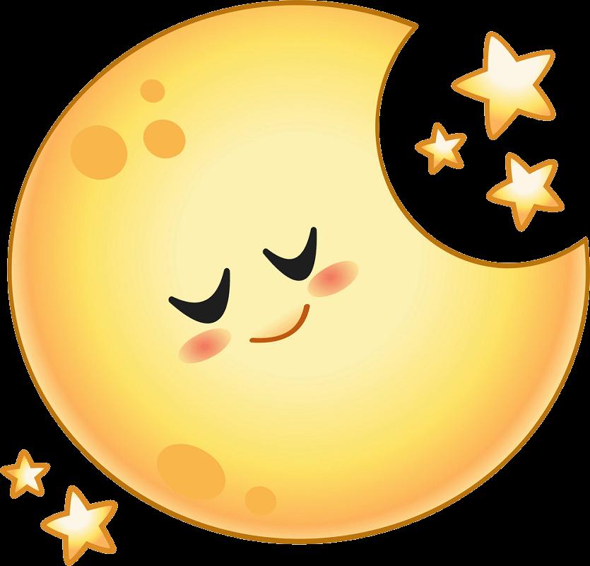 Lovely Cartoon Moon clipart transparent