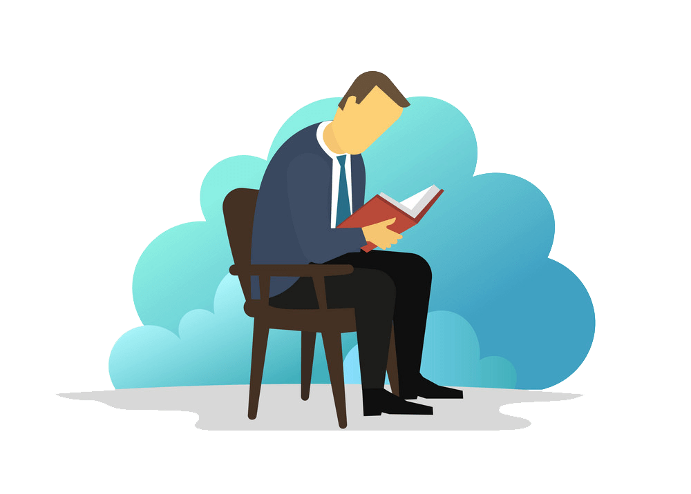 Man Reading clipart transparent