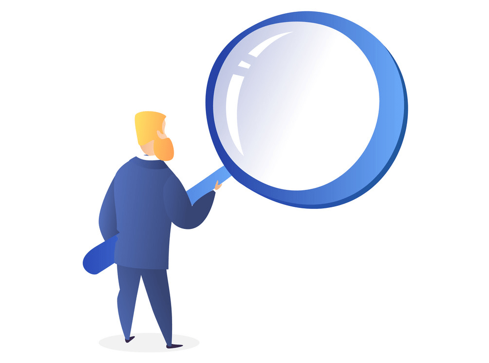Man with Big Magnifying Glass clipart