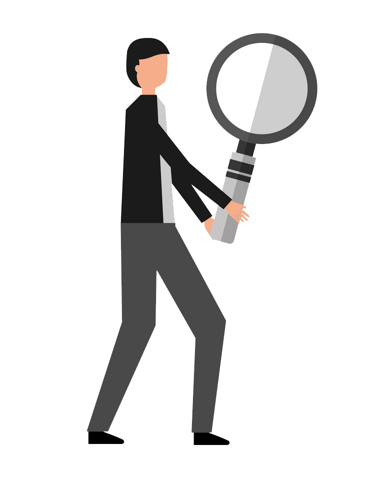 Man with Magnifying Glass clipart transparent