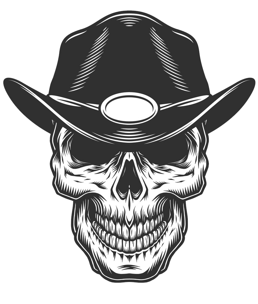 Monochrome Vintage Skull clipart transparent