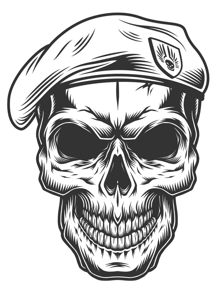 Monochrome Vintage Skull clipart