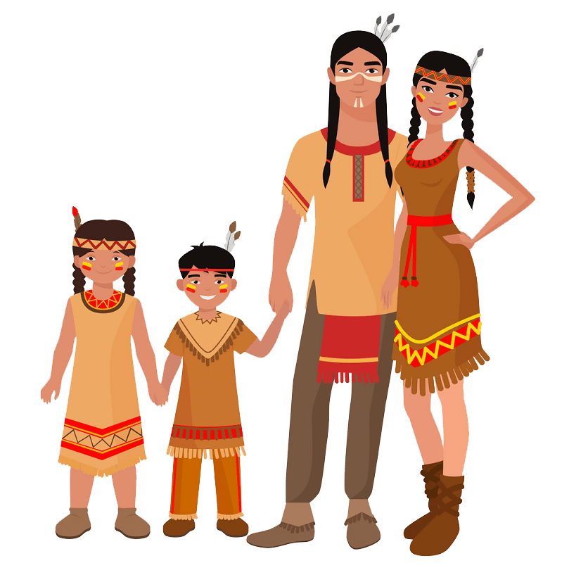 Native American Family clipart transparent