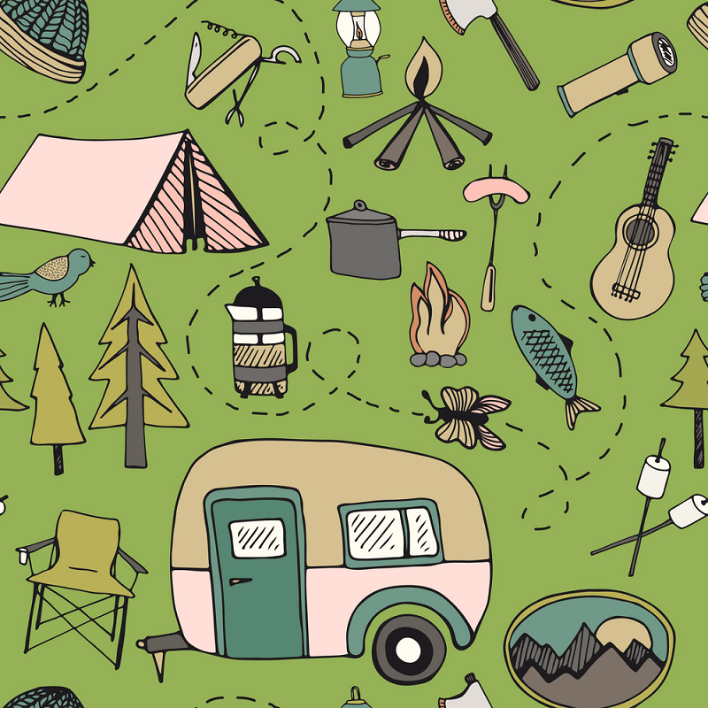 Pattern Camping clipart