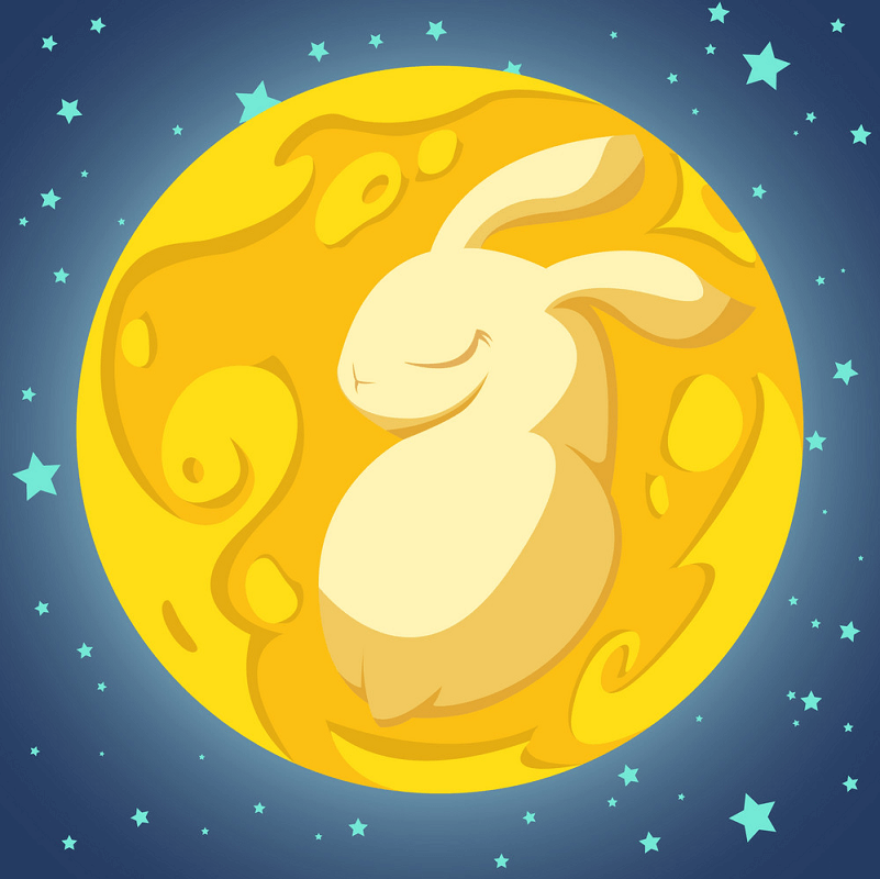Rabbit in the Moon clipart