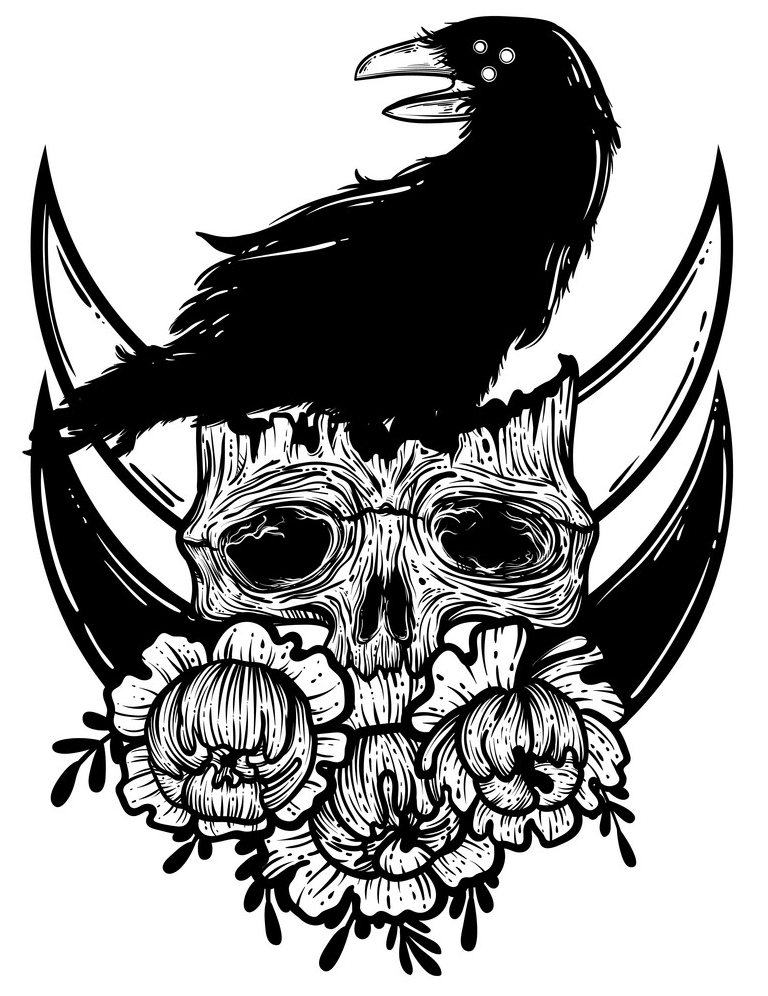 Raven and Skull clipart