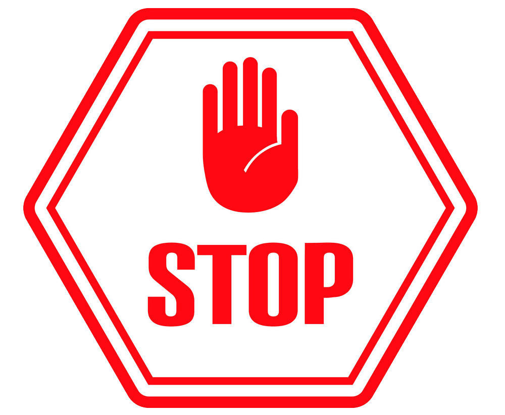 Red Hand Stop Sign clipart transparent