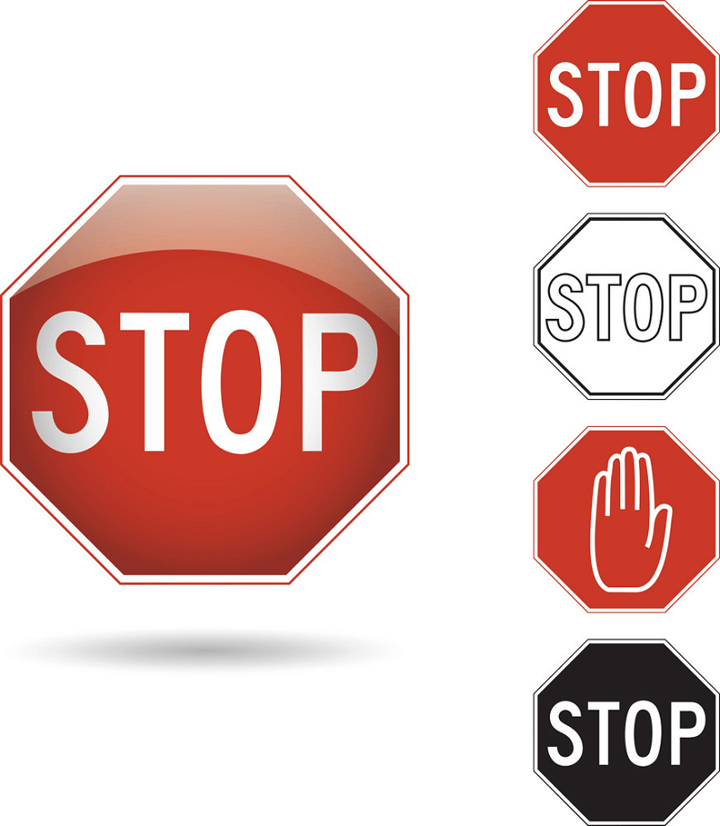 Red and Black Stop Signs clipart