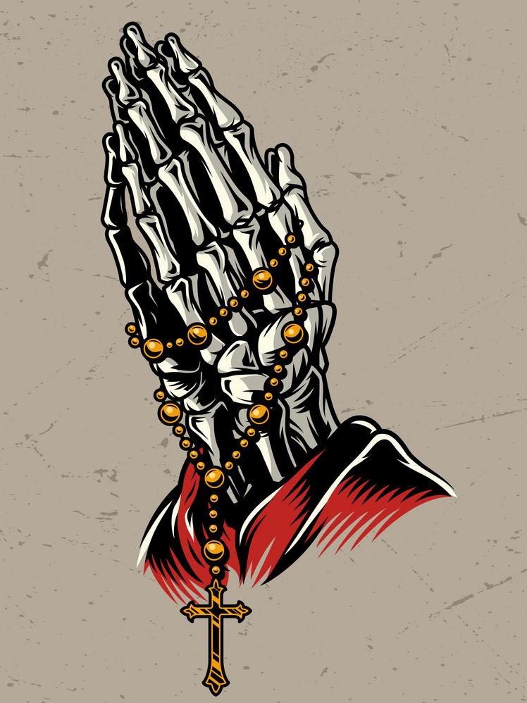 Skeleton Praying Hands clipart png