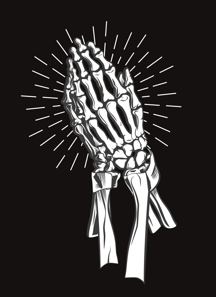 Skeleton Praying Hands clipart