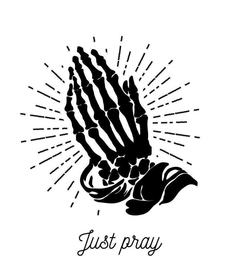 Skeleton Praying Hands png