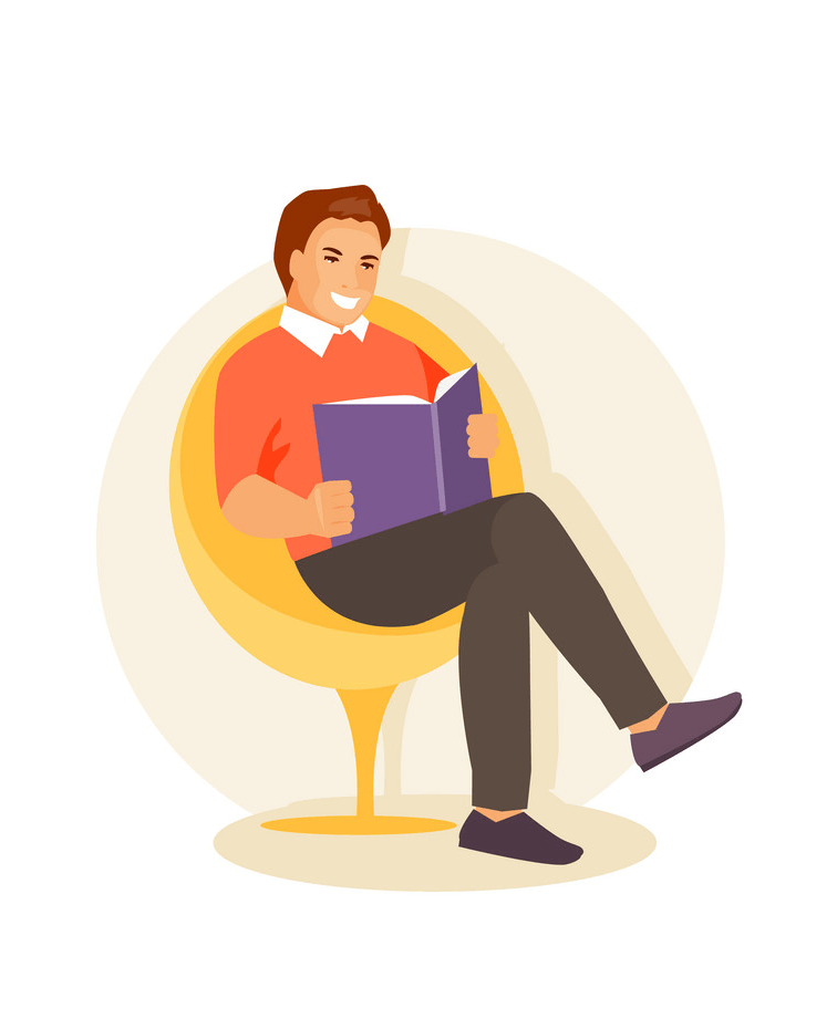 Smiling Man Reading clipart