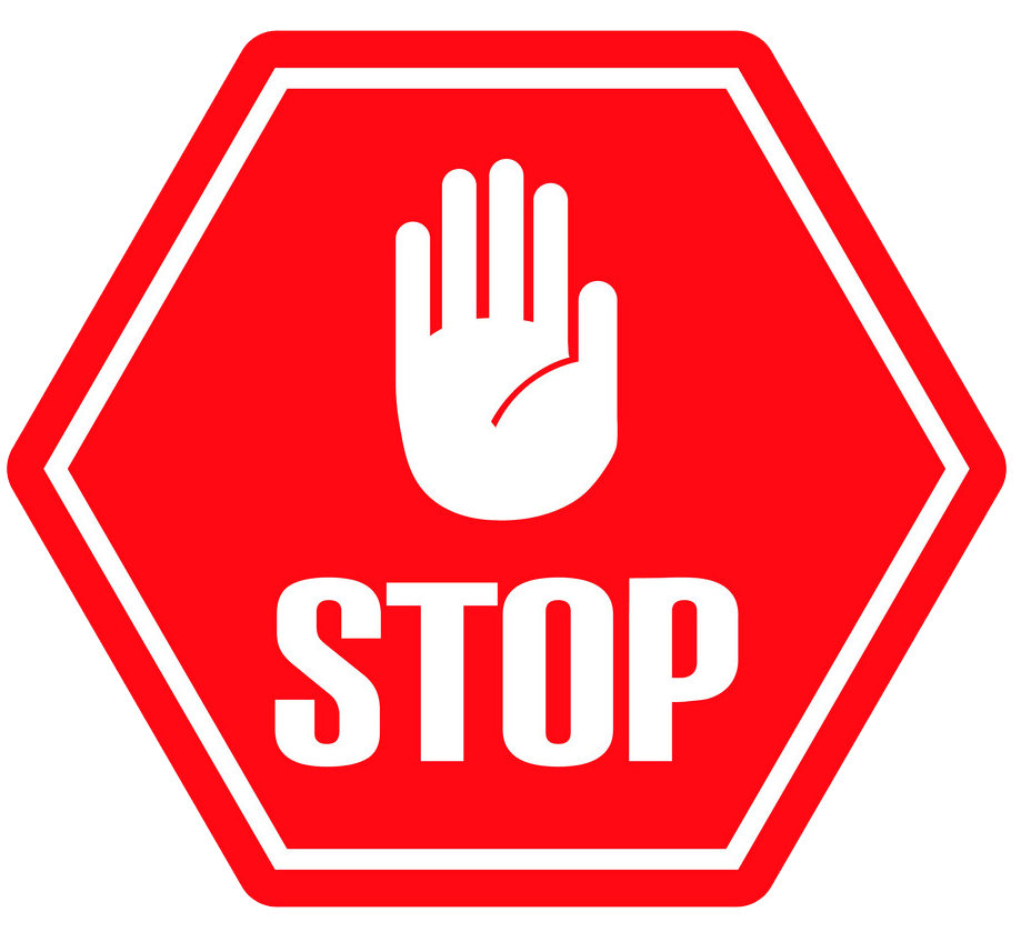 Stop Sign with hand clipart transparent