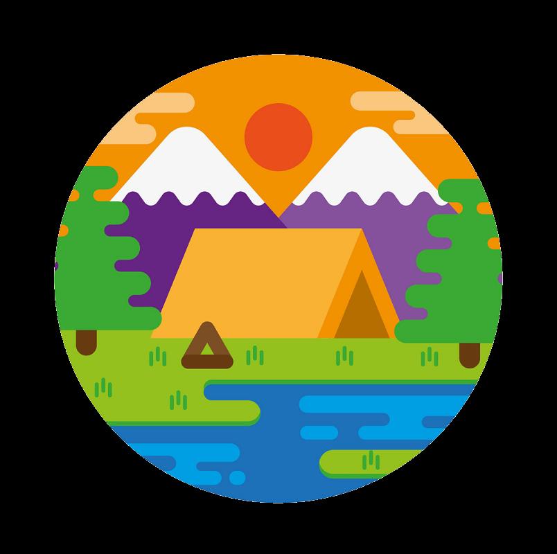 Sunset Camping clipart transparent
